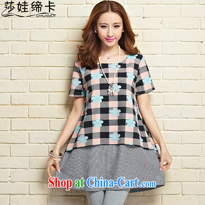She concluded her card pregnant women skirts summer sun stomach fat sister dresses video thin grid control leave of two short-sleeved round-collar skirt blue and white XL