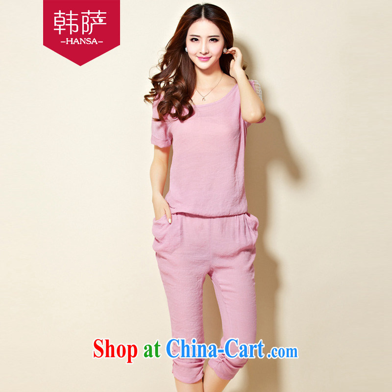Won the 2015 new Korean version Stylish large code female cotton Ma snow woven shirts, T-shirts, trousers two piece set with C 328 pink XXXXL