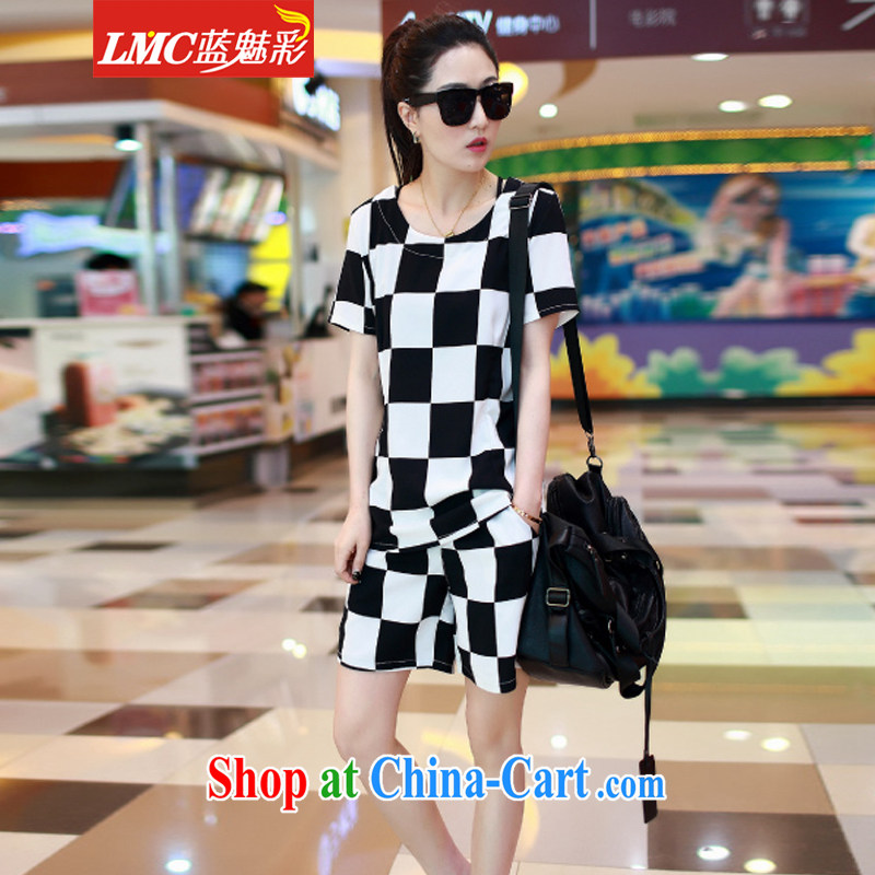Clear blue color code is female and indeed intensify summer Plaid Shorts set thick mm female beauty graphics thin Leisure package girls summer Haig 5 XL