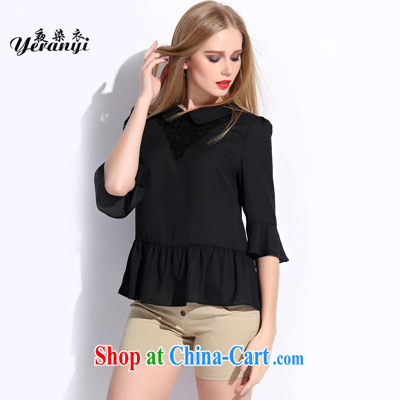 My dyeing clothing summer 2015 new European and American large code ladies embroidered comfortable horn cuff loose video thin ice woven shirts black 6 XL _185 - 200 _ jack