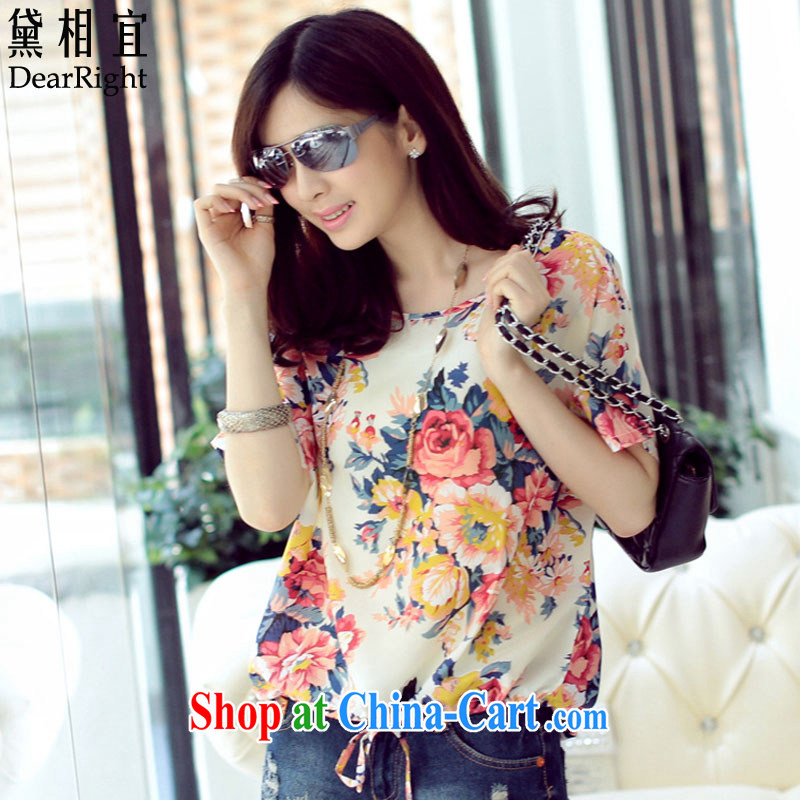 Diane affordable 2015 summer new, thick sister and indeed XL snow woven shirts T pension 200 Jack thick MM Korean loose video thin short sleeved T-shirt Peony flower 3XL _recommendations 190 - 220 jack_