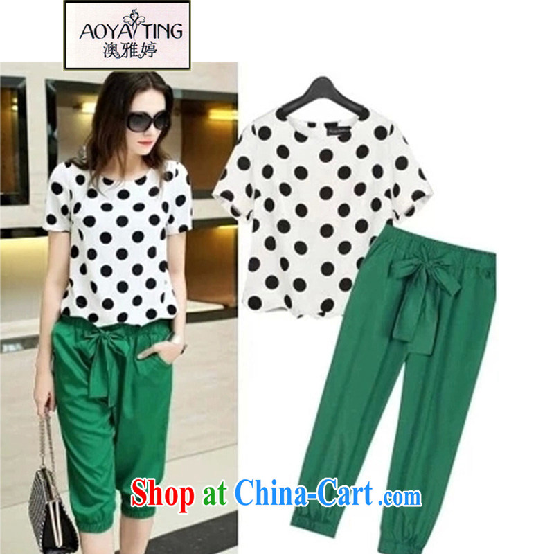 o Ya-ting 2015 New, and indeed increase, female fat mm Summer Snow woven shirts graphics thin short-sleeved leisure suite 8956 wave point T-shirt + 7 pants picture color 5 XL recommends that you 175 - 200 jack