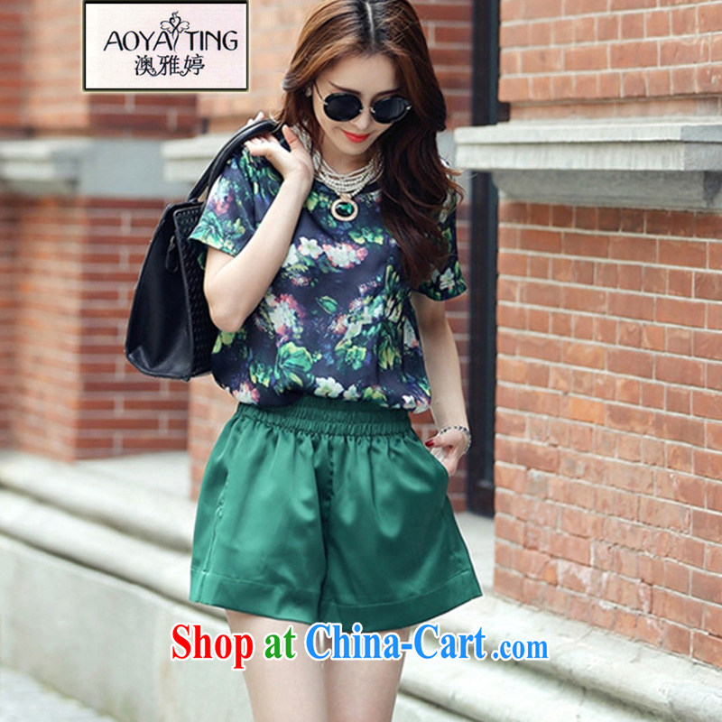 o Ya-ting 2015 New, and indeed increase, female fat mm summer short-sleeved T shirt + shorts leisure suite 8955 green two-piece 5 XL recommends that you 175 - 200 jack