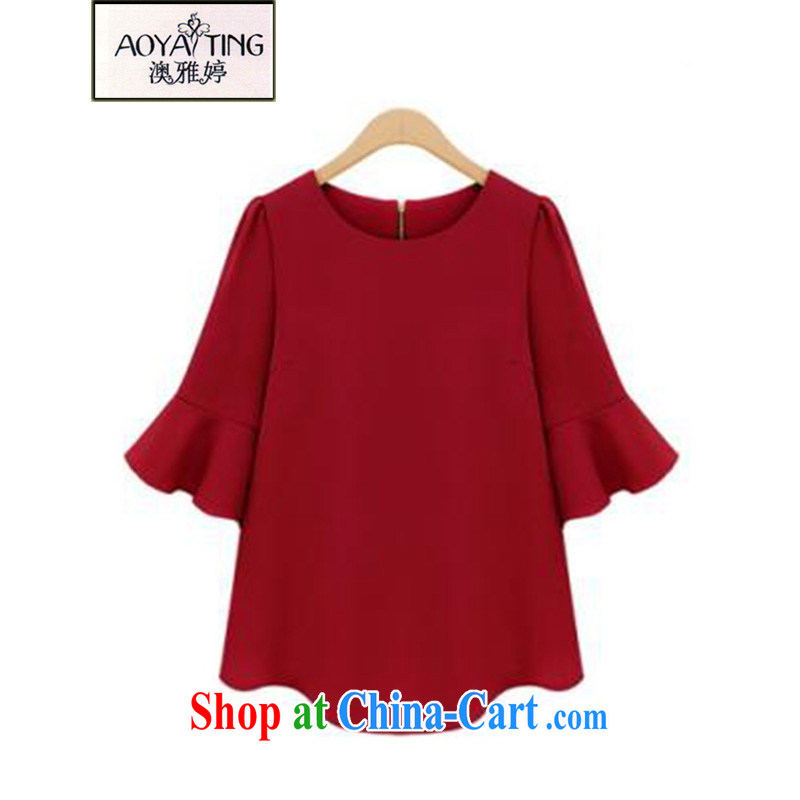 o Ya-ting 2015 New, and indeed increase, female fat MM Summer Snow woven shirts graphics thin T shirts women 8950 red 5 XL recommends that you 175 - 200 jack