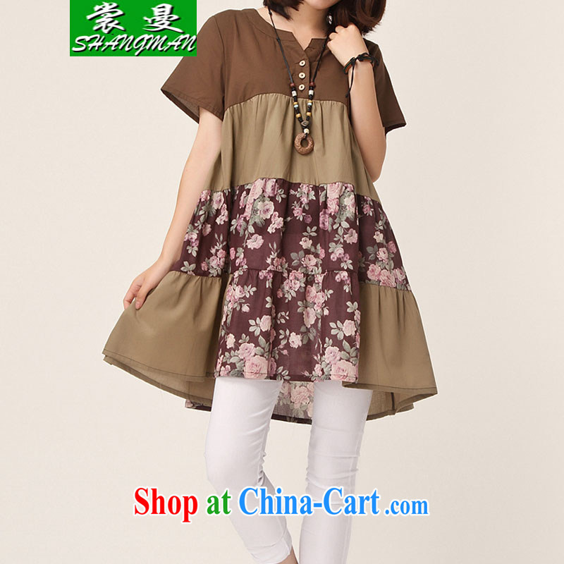 Advisory Committee Cayman 2015 summer, the Korean version of the greater code dress floral thick mm loose stitching short-sleeved dresses brown XXL
