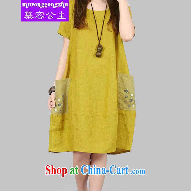 Princess ?? thick MM female 2015 Korean lax XL yarn Web coin decorated with large pocket short-sleeved linen cotton dress Kang yellow XL