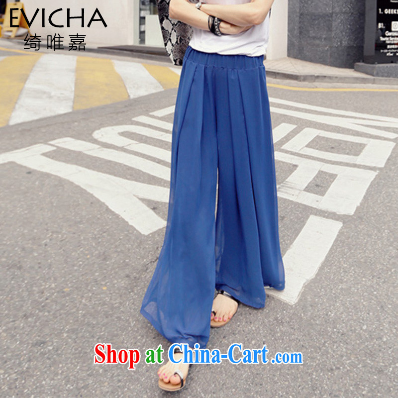 2015 New, and indeed increase, ladies casual loose snow woven Wide Leg pants thick woman graphics thin, OM 9100 blue 6 XL