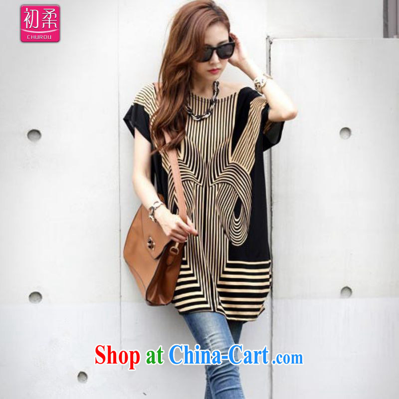 Flexible early summer 2015, Korea's version of the greater code female round-neck collar in stamp duty long loose T shirt black apricot color T-shirt with short sleeves 200 jack to wear picture color code