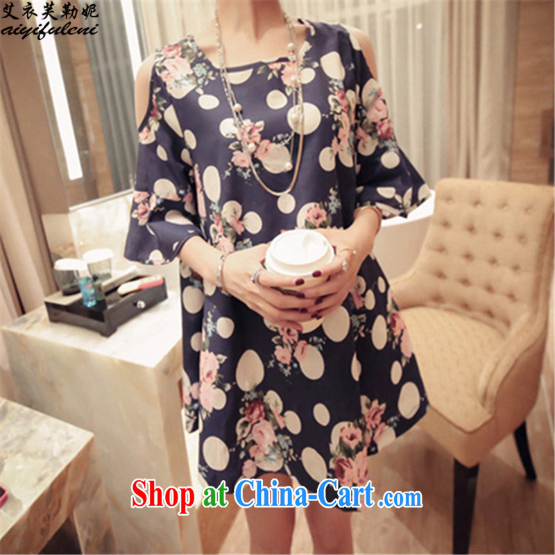 The Yi would be Connie, summer 2015 new loose the code your shoulders sense of short-sleeved dresses female round-collar stamp dot snow woven skirt 9014 blue XXXL 170 - 210 jack