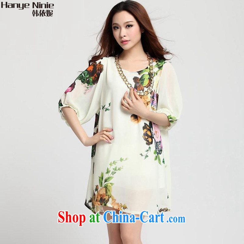 In accordance with Korea Connie 2015 the Code women in relaxed long snow-woven dresses 1169 white Peony XXXXL