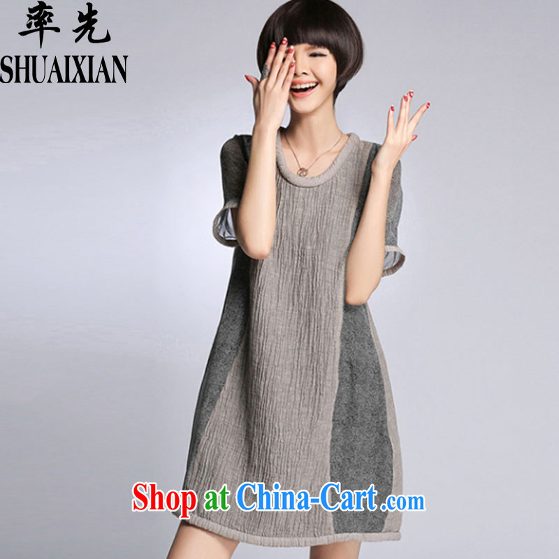 In summer 2015, the United States and Europe, linen series spelling skirts loose thick mm female skirt fat people graphics thin, 8611 light gray XXXXL