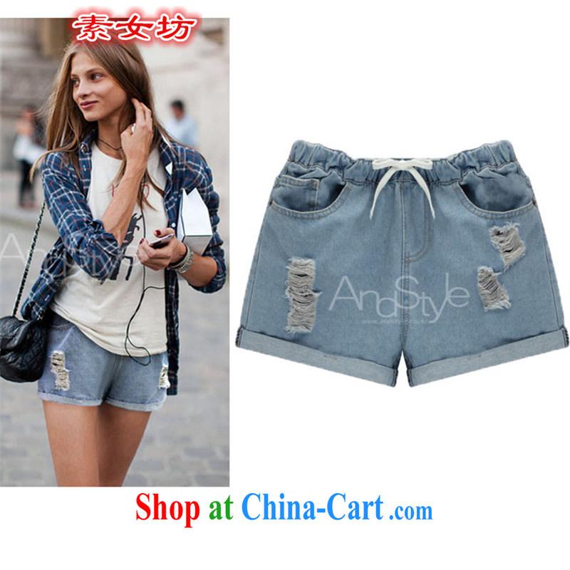 Pixel girl workshop summer 2015 new Europe larger thick MM worn out elastic waist denim shorts girls summer 6107 photo color XXXXXL