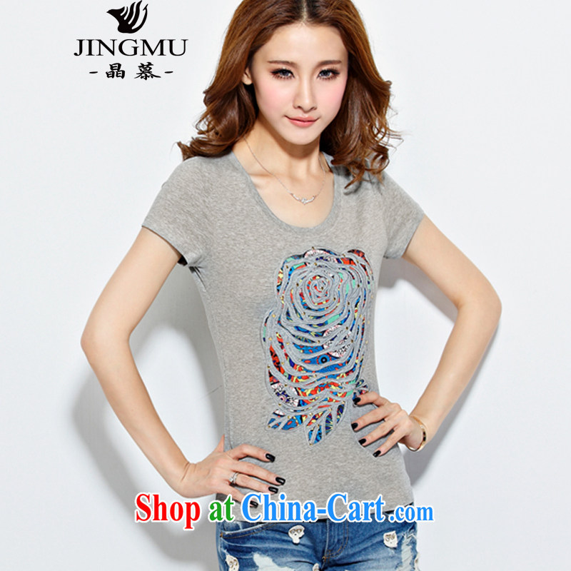 Crystal Bermuda Code women Ethnic Wind T pension 2015 summer new Korean girls embroidered flowers pure cotton short-sleeved T-shirt light gray 3 XL