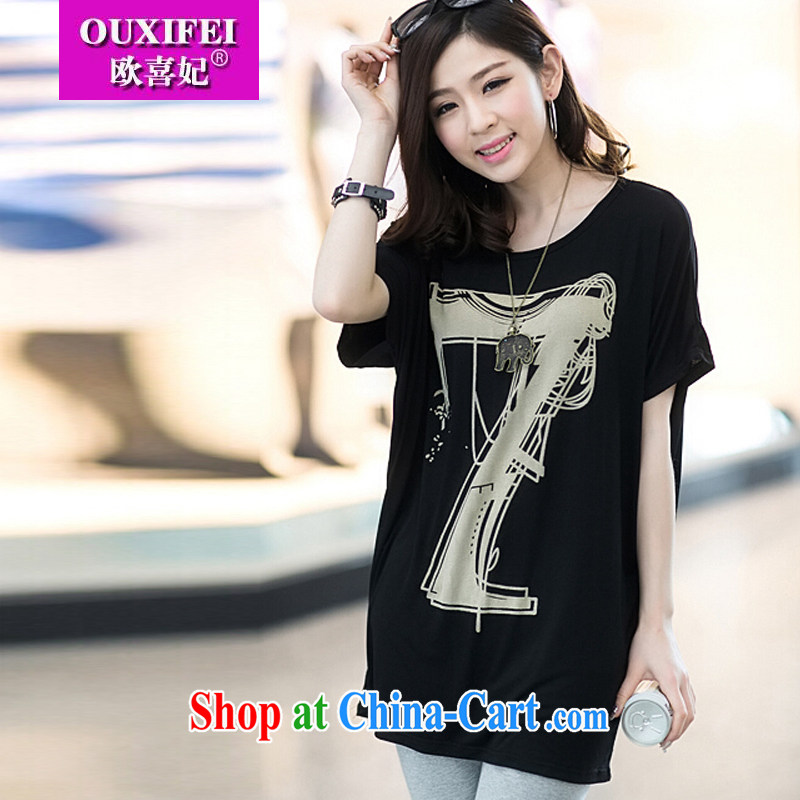 The HI Princess summer 2015 new loose the Code women, generation, Korean version thick MM bat shirt T blood short-sleeve female black King are code