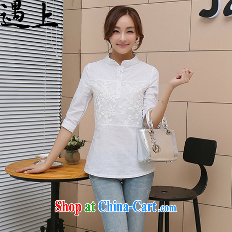 In 2015, the female linen white shirt girl shirt solid T-shirt cotton Ma T-shirt - 2230 white 3XL
