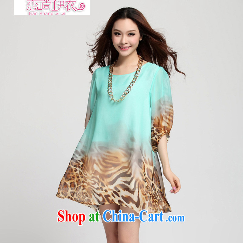 618 to the land is the Yi 2015 summer new, larger women is the increased emphasis on MM Leopard loose short-sleeved snow stamp duty woven dresses 1013 green 4 XL recommendations 190 - 230 jack