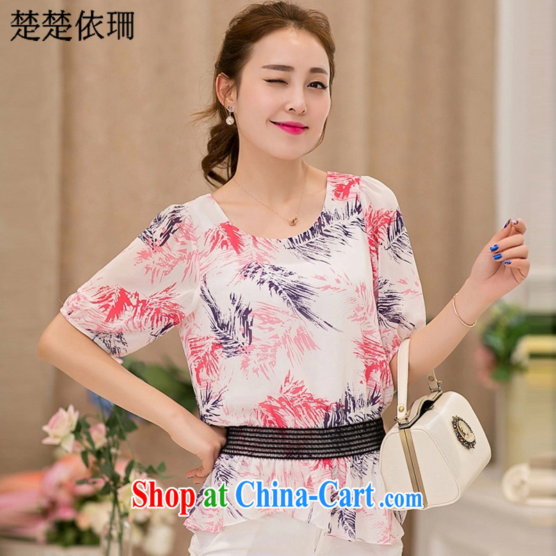 Chu Chu in accordance with laws and 20152015 Korean version summer is the girl with a short-sleeved loose stamp snow woven shirts women 6819 pink XXXL