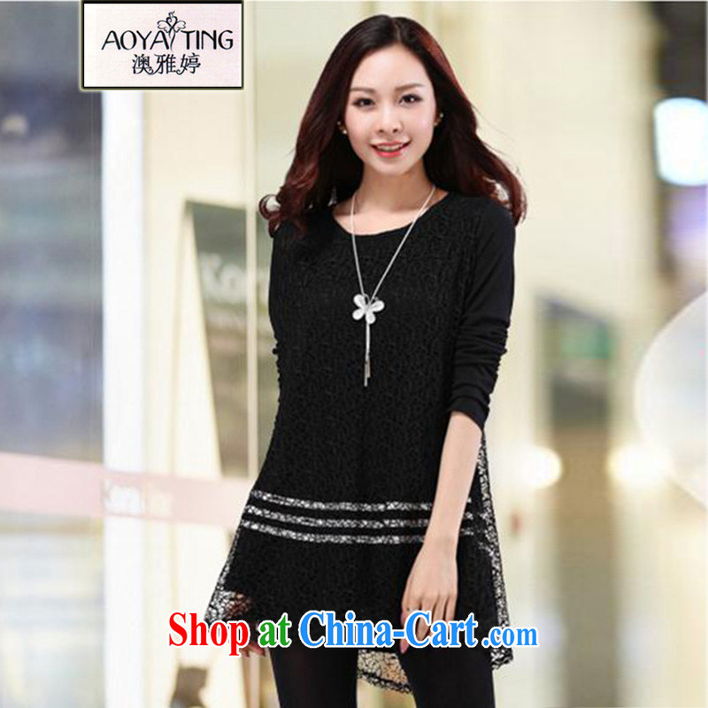 o Ya-ting 2015 New, and indeed increase, female fat mm spring loaded lace solid T-shirt graphics thin T-shirt 6835 black 4XL recommends that you 160 - 180 jack