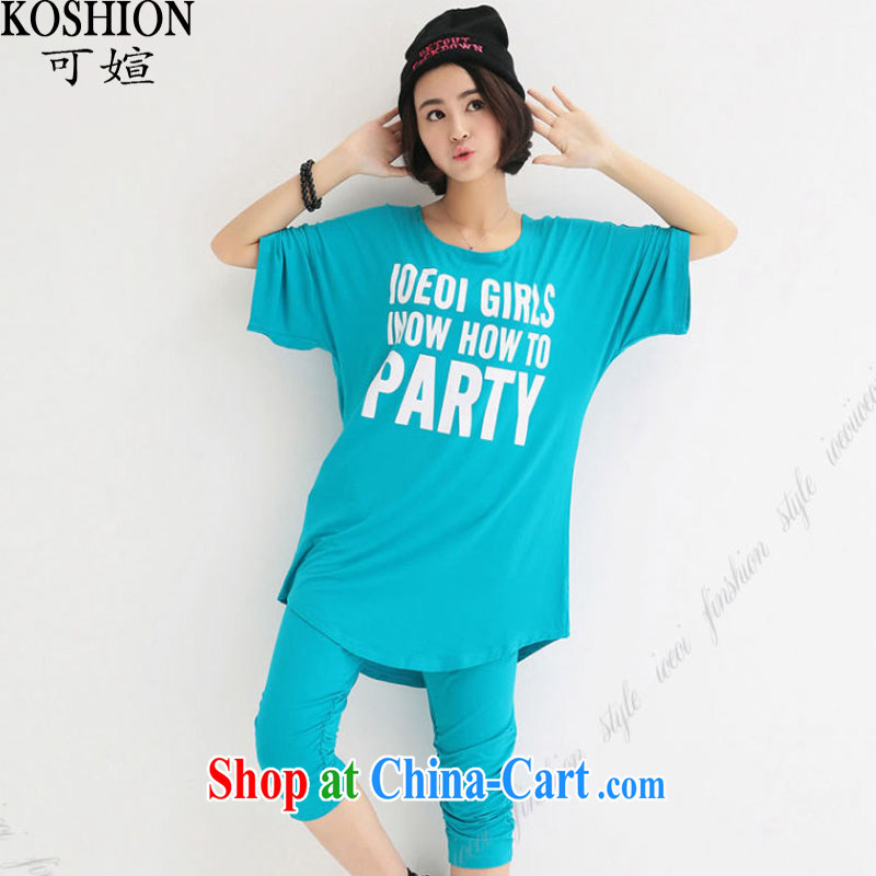 Here is summer 2015 new thick mm larger female video slim, T shirts and pants sport and leisure Package Women 1129 blue XXXL (150 - 180 ) jack
