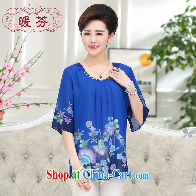 Warm, Mom loaded summer new, round-neck collar silk girls T-shirt short-sleeved, older women with large, solid shirts snow woven shirts blue XXXL