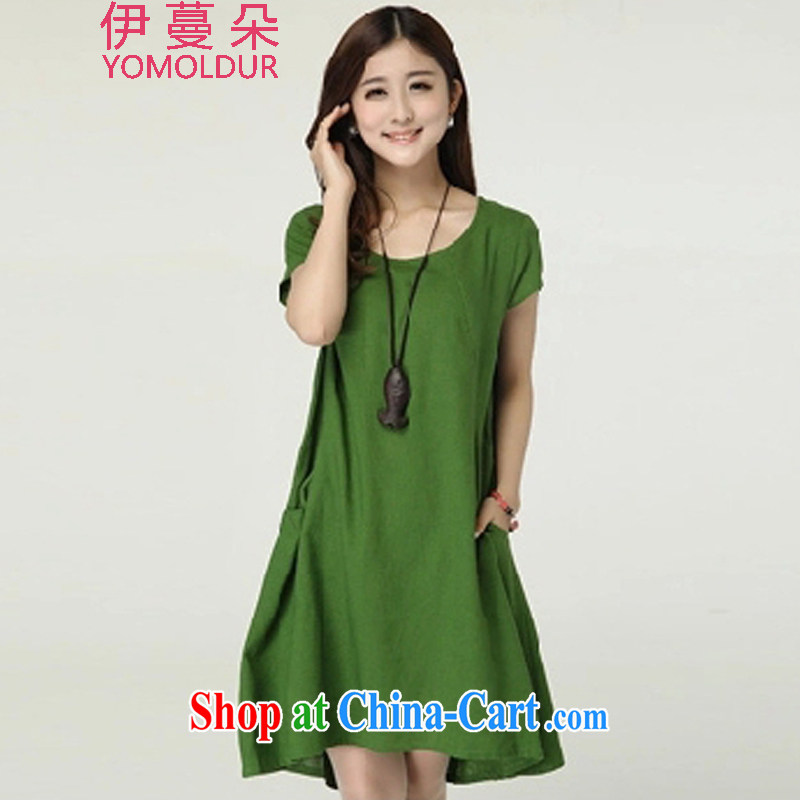 The evergreens flower summer 2015 new Korean version the code loose linen cotton Ma dresses DM 686 green XXL