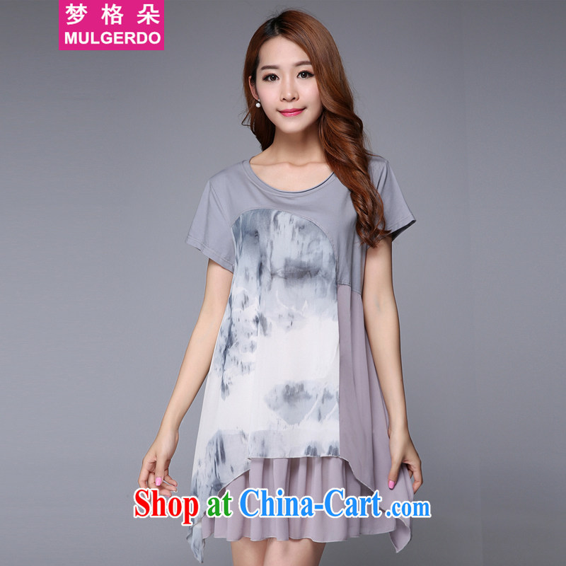 Let the flower 2015 summer new products, female fat sister graphics thin female stamp duty short-sleeved thick people dress s 9006 gray 3 XL