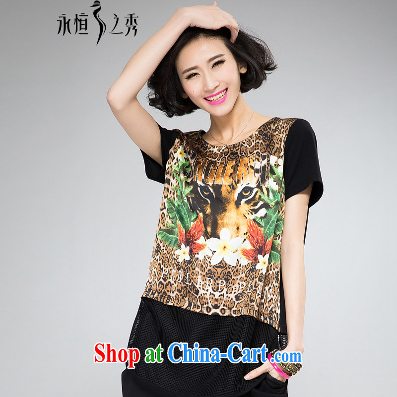 Eternal show larger female T-shirts thick mm thick, graphics thin, 2015 summer new stylish digital stamp tiger head short-sleeve loose T shirt T-shirt black 4XL