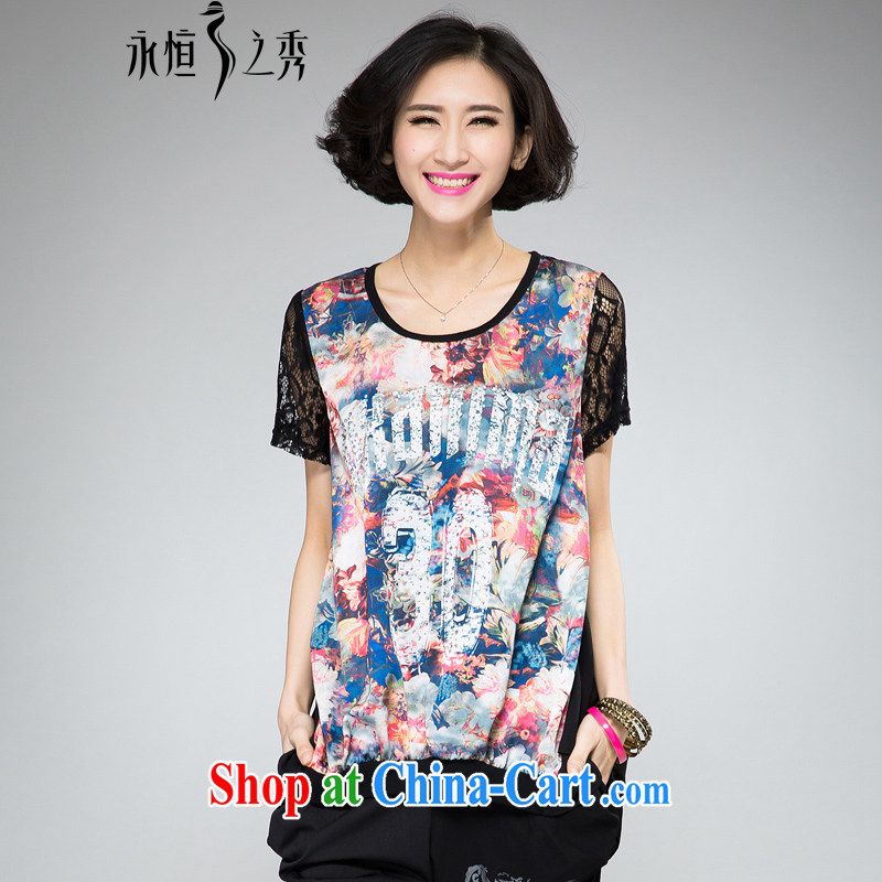 Eternal show the code women 2015 summer new t-shirts and indeed XL thick sister fat, Video thin new stylish hot stamp duty drilling thick mmT pension black XL