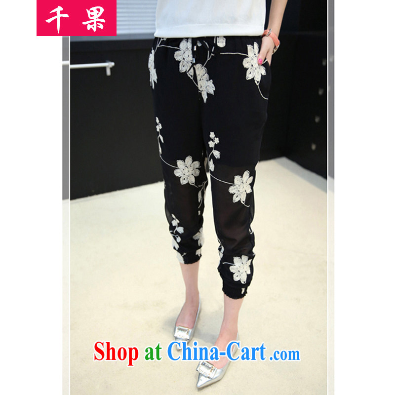 1000 if the code female Korean trousers video thin Harlan pants summer new, the FAT and FAT MM loose snow woven embroidered thin female pants 331 black 4XL 175 - 195 Jack left and right