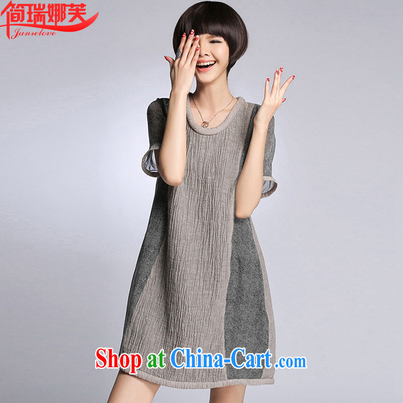 In short, will be the 2015 spring and summer new European wind silk linen stitching, long, loose the code thick sister dresses J 765 gray 5 XL