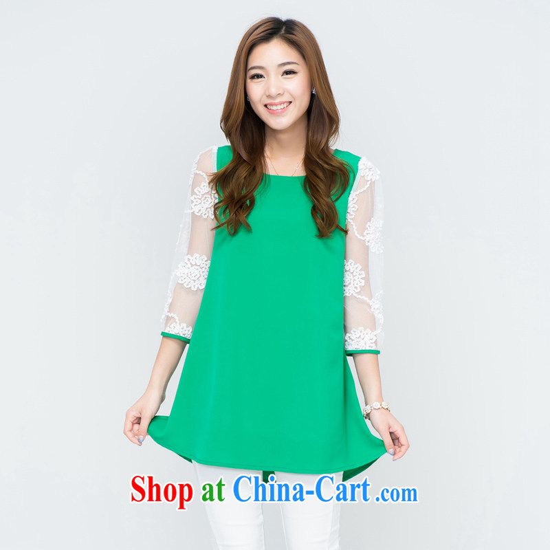 blue water the Code women 2015 summer new thick MM stylish sweet lace cuff loose dress 63,055 large green code XL