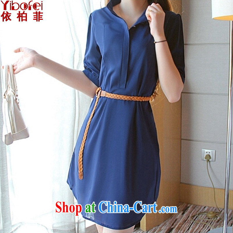 According to perfect summer 2015 new thick MM larger loose video thin beauty snow woven shirts dresses women with Lap Y 2162 deep blue 5 XL