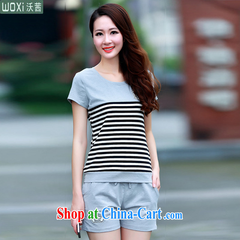Kosovo Lucy _Woxi_ 2015 summer new, larger Korean fashion girls shorts uniforms cotton two-piece 212 light gray M