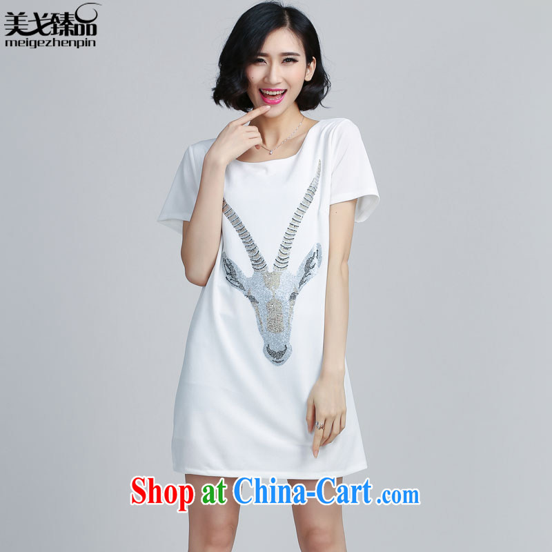 The Gore level, summer 2015 new stamp duty round-collar short-sleeve large Code women's clothing dresses white 5XL
