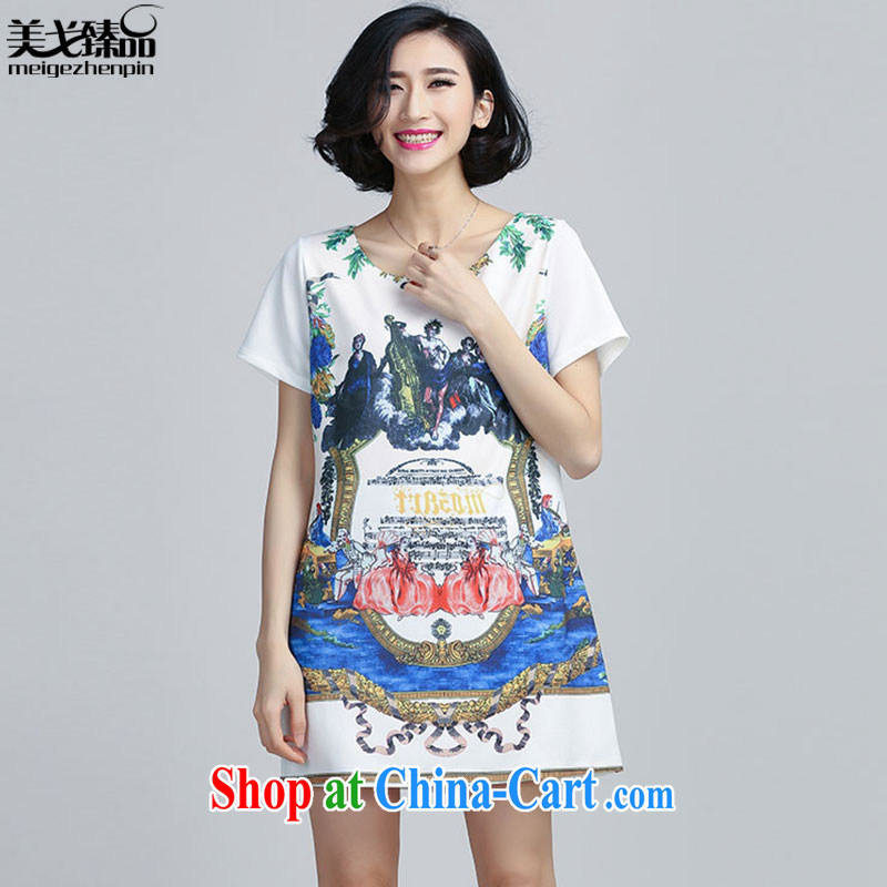 The Gore level for 2015 summer leisure and indeed increase, female short-sleeve retro stamp A Field dress dress white 5XL