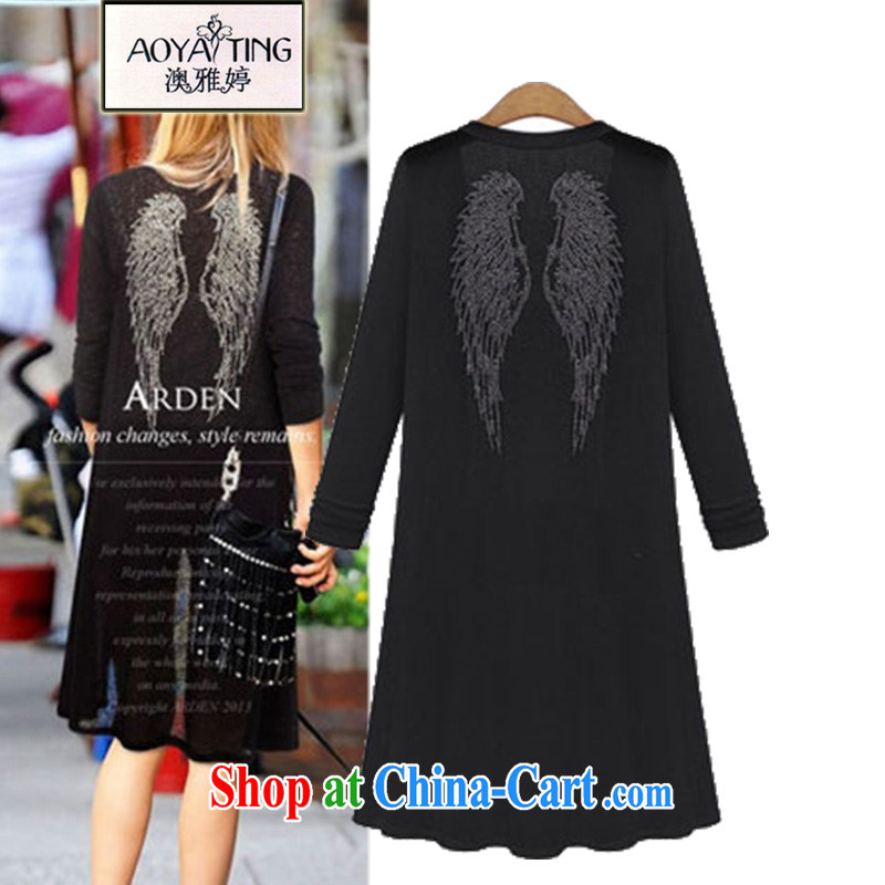 o Ya-ting 2015 New, and indeed increase, female fat mm spring loaded, long cardigan knitted dresses air-conditioning T-shirt black 5 XL recommends that you 175 - 200 jack
