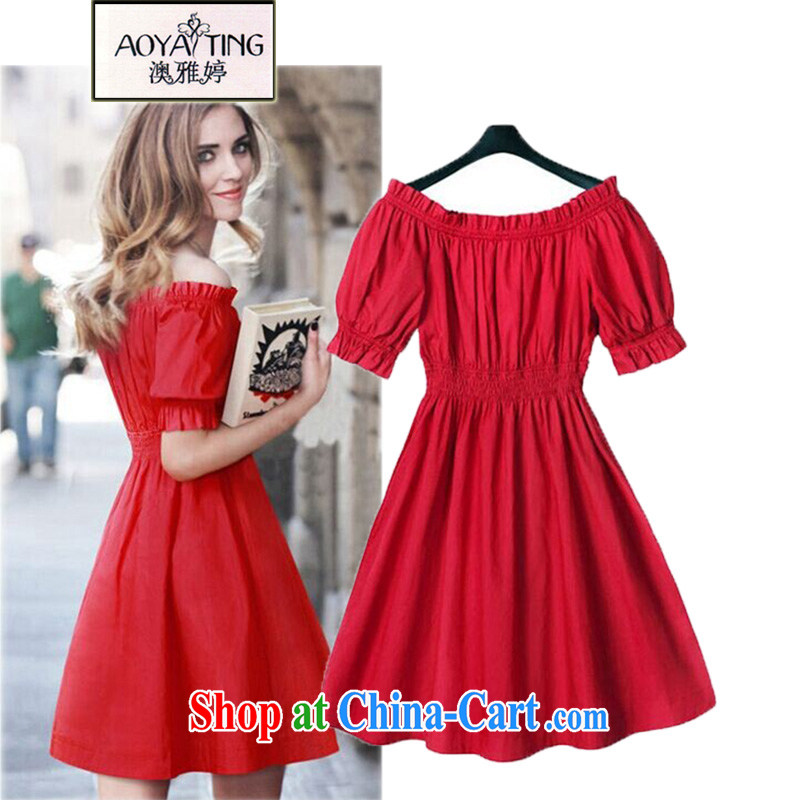 o Ya-ting 2015 New, and indeed increase, women with thick mm spring and summer with a field for video thin short-sleeved dresses red 4 XL recommends that you 160 - 180 jack