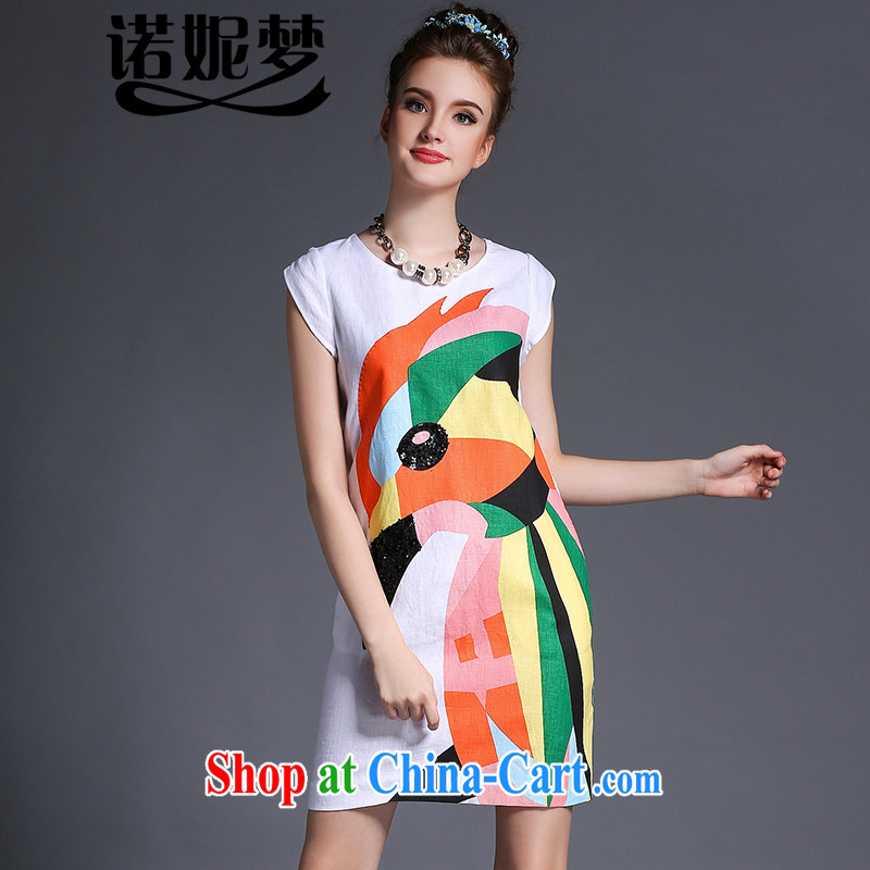 Connie's dream European and American high-end luxury cotton stamp duty the dresses 2015 new summer is indeed the XL female 200 Jack beauty graphics thin short skirt G 655 white XXXL