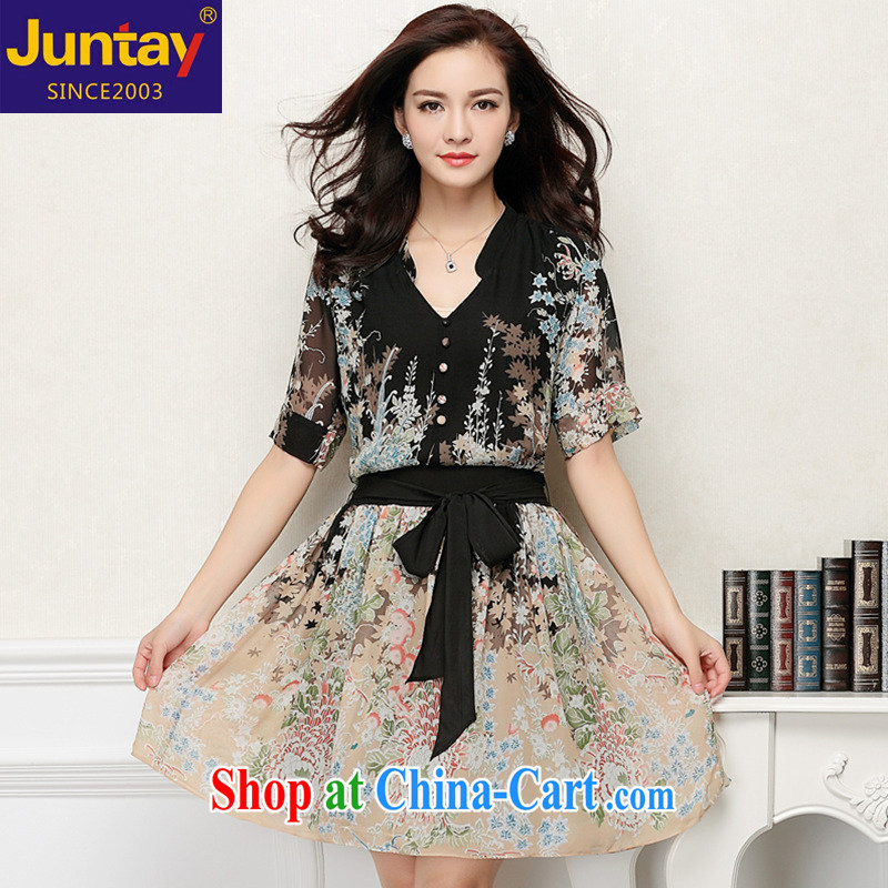 Grand Pacific 2015 summer new, larger female Bohemia stamp sauna silk The Silk Dresses V collar large picture color XXL