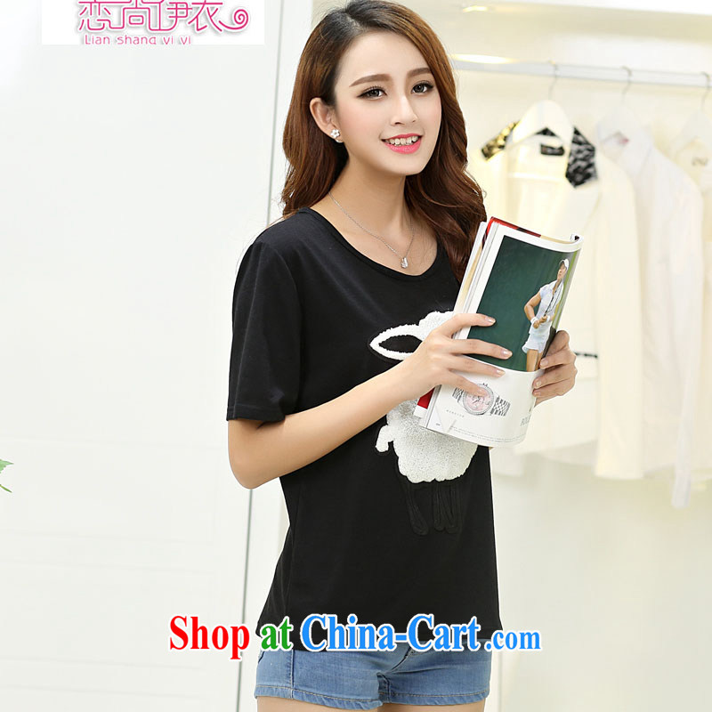 Land is still the Yi 2015 spring and summer New, and indeed increase, female 200 Jack thick MM thick sister cotton shirt T solid T-shirt girls T-shirt 5630 black 5 XL