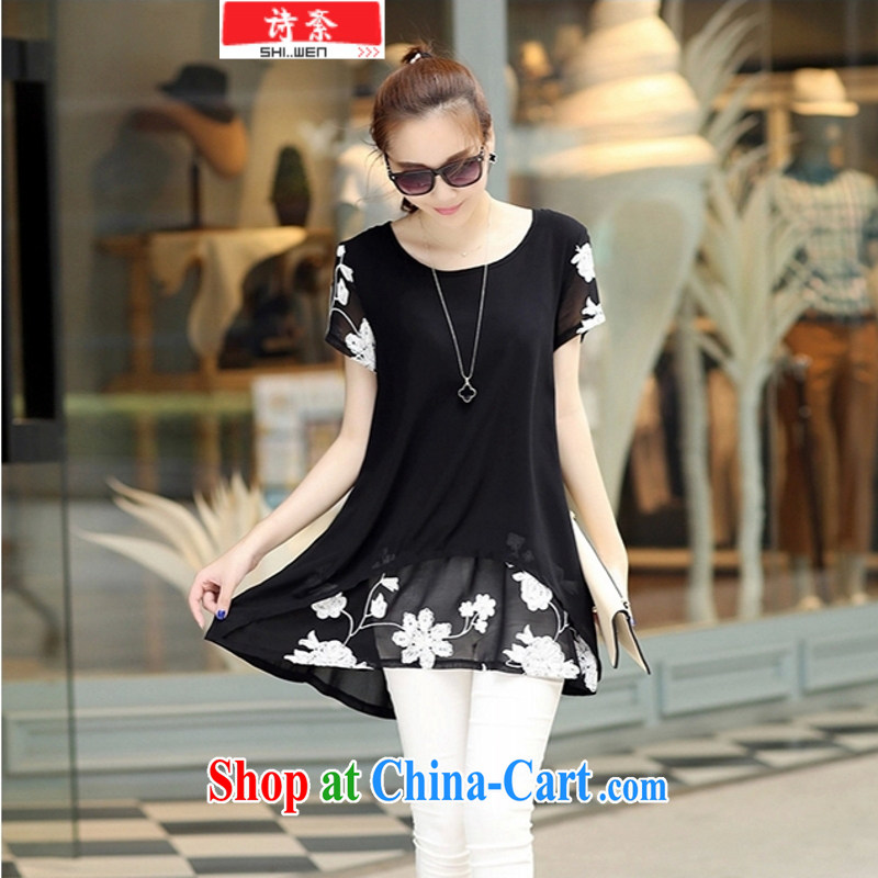 Ms Elsie Leung, politically 2015 summer new short-sleeved clothes snow woven shirts thick MM larger female dress black 3 XL