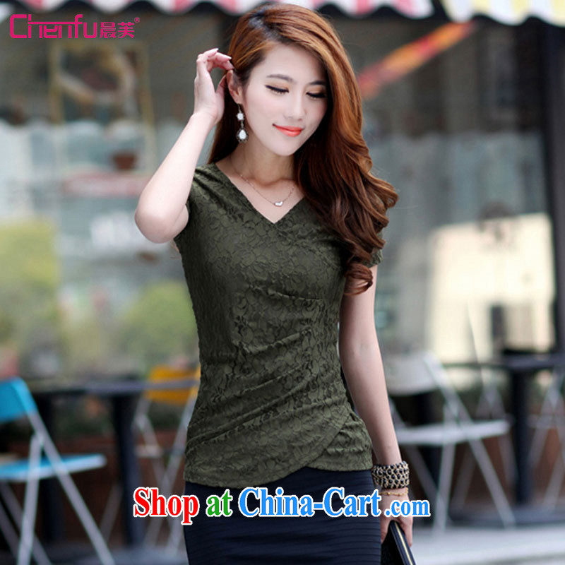 Morning would be 2015 summer new and indeed XL female T shirt T-shirt on 100 mm ground cultivating graphics thin short-sleeved V collar wrinkled lace T shirt army green 3XL