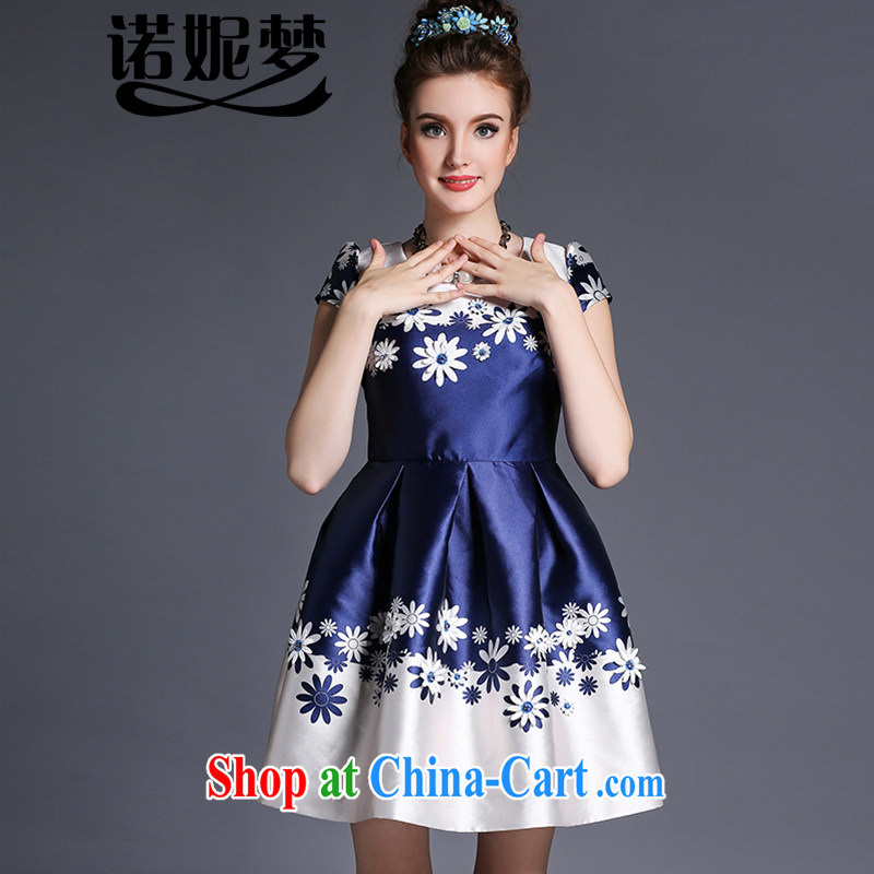 Connie's dream European and American high-end 2015 new summer dress mm thick and fat XL female 200 Jack short-sleeve-waist stamp Princess skirt G 638 blue XXXL