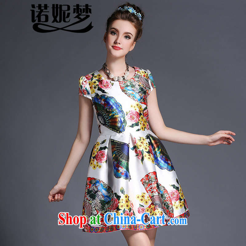Connie's dream high-end European and American fare is indeed increasing, female 200 Jack 2015 summer new elegant fans stamp collection waist graphics thin short-sleeved dresses G 639 white XXXXL
