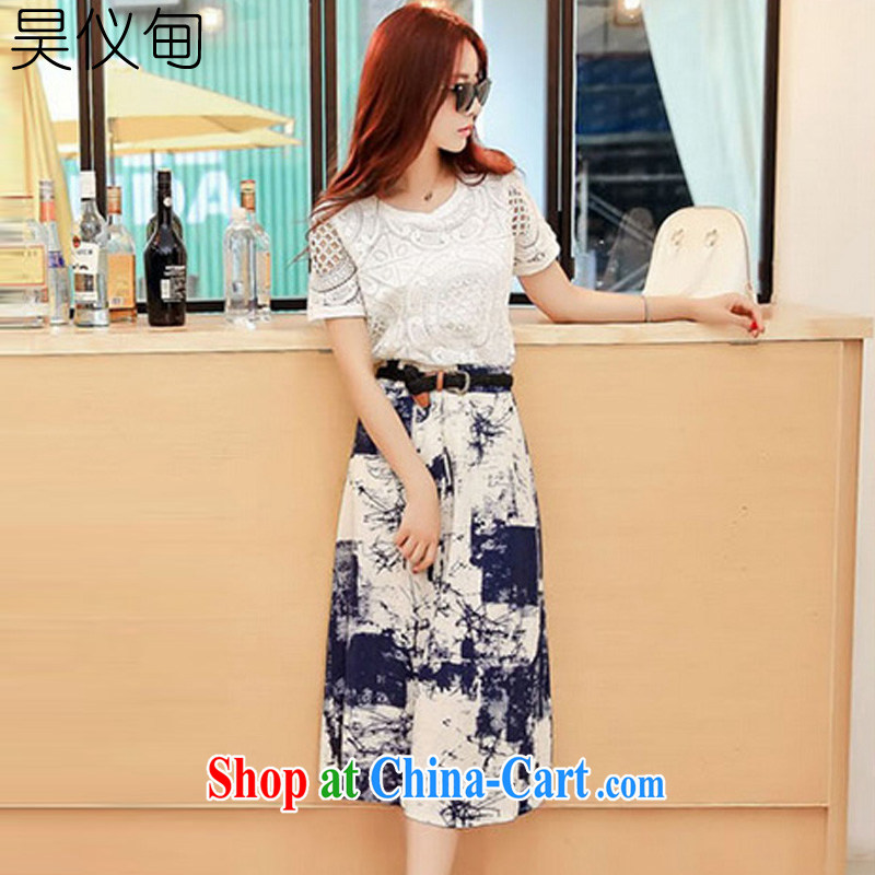 Hao, Austin 2015 summer new XL video thin beauty two kits, long skirt cotton the dresses the belt 8063 picture color XXL