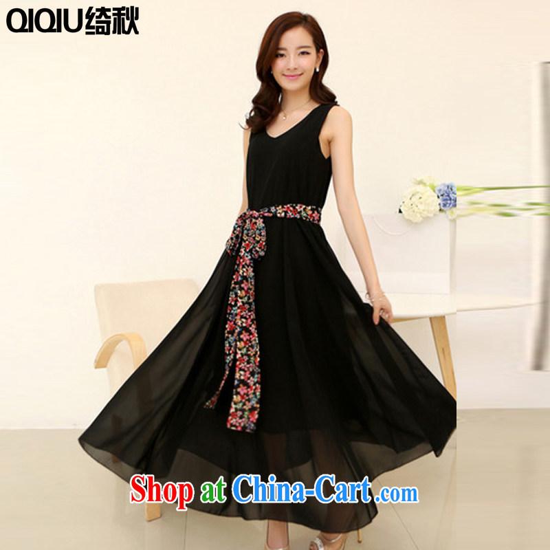 Chi-chiu-dress girls summer 2015 new sleeveless large, female summer decoration, beach skirts summer thick sister dresses snow woven black XXL