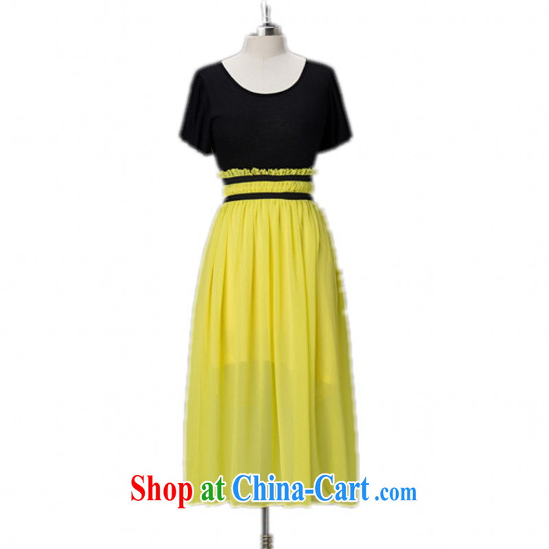 The delivery package as soon as possible-mm thick larger dresses 2015 summer leisure Bohemia long skirt flouncing snow cuff woven into color OL beach yellow 3 XL approximately 185 - 210 jack
