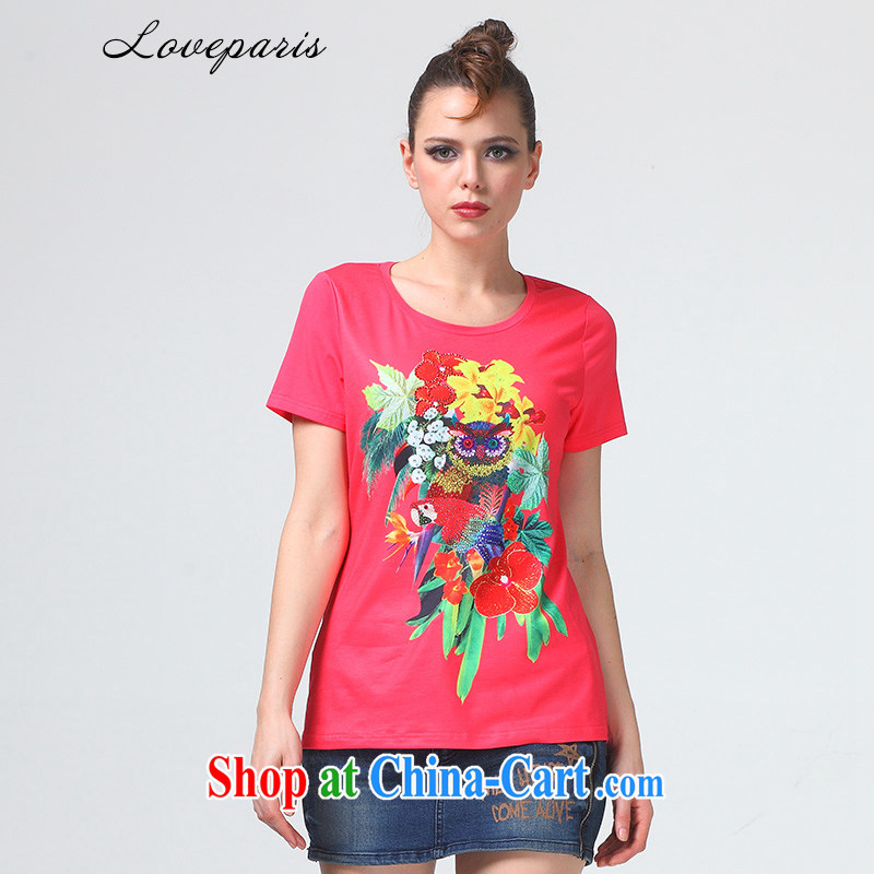 Lovers in Paris _loveparis_ code female T-shirts in Europe and indeed the XL thick girls with graphics thin leisure stamp duty cotton Ma T pension rose red XXXL