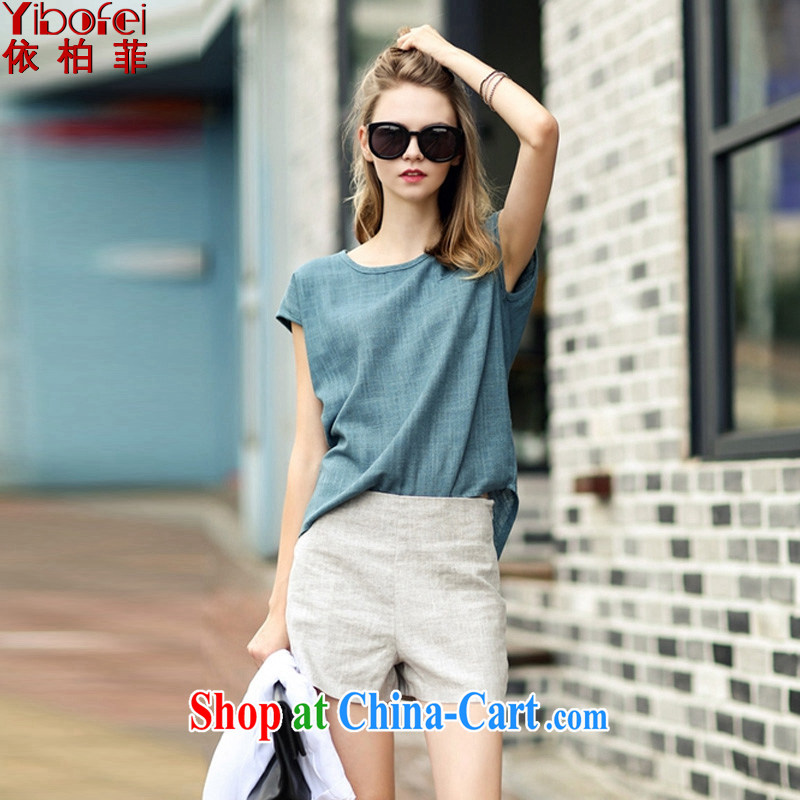 In accordance with perfect 2015 new thick MM large code female linen Leisure package Europe and stylish high-waist graphics thin shorts two piece Y 2163 photo color 5 XL