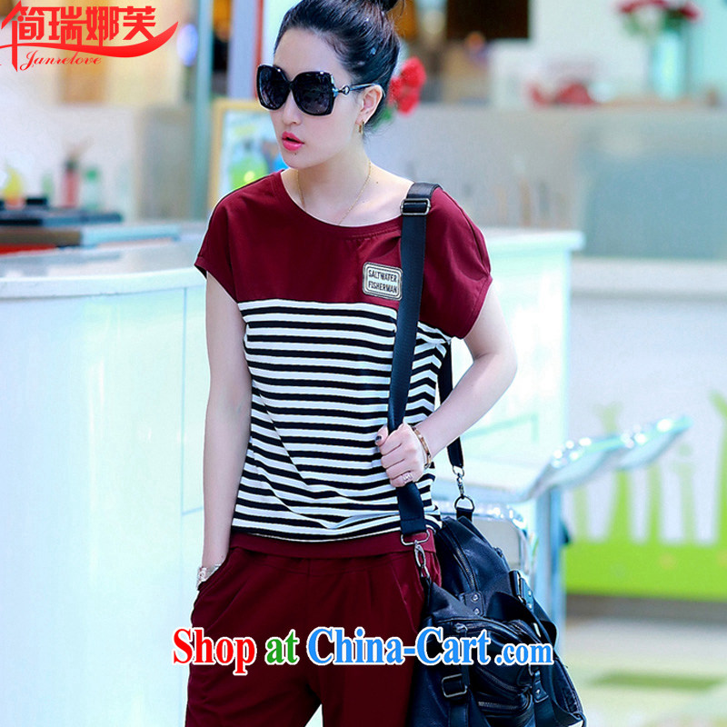 In short, the possible summer 2015 new short-sleeved sport and leisure package girls thick MM loose bat shirt larger T pension two-piece J 771 wine red 3XL